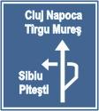 indicator rutier Presemnalizarea directiilor la o intersectie denivelata de drumuri